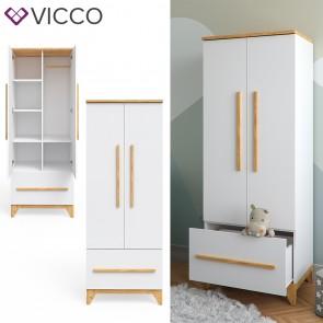 VICCO Kleiderschrank MALIA mit Schubfach, verstellbaren Ablagen & Kleiderstange weiß