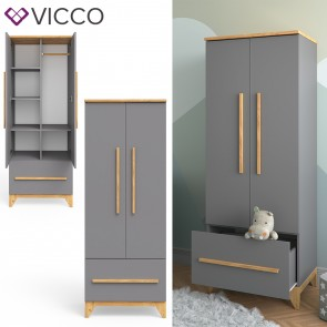 VICCO Kleiderschrank MALIA mit Schubfach, verstellbaren Ablagen & Kleiderstange