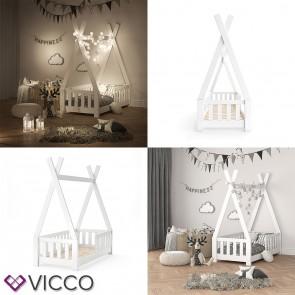 VICCO Kinderbett TIPI Indianer Bett Kinderhaus Zelt Holz Hausbett 70x140cm Natur ++++ MASSIVHOLZ +++ HOCHWERTIG ++++