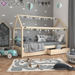 VICCO Hausbett WIKI 90x200 Unbehandelt Inkl Schubladen