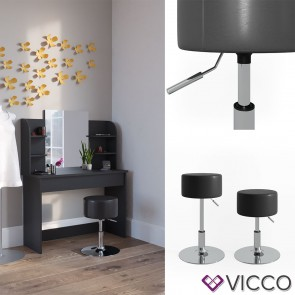 VICCO Design Hocker / Schminkhocker höhenverstellbar in schwarz