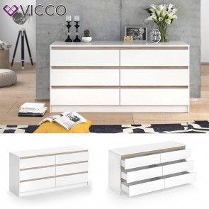 VICCO Kommode Emma mit 6 Schubladen in Weiß Sonoma