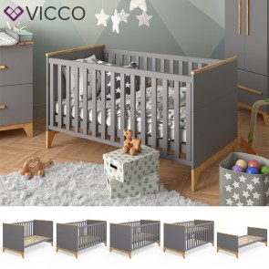 VICCO Baby- und Kinderbett MALIA anthrazit