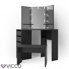 VICCO Schminktisch ARIELLE Schwarz mit Bank und LED-Beleutung