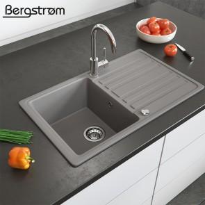 Bergström Granit Spüle Küchenspüle Einbauspüle Spülbecken 765x460mm Beton