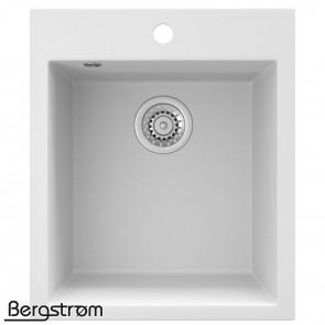 Bergström Granit Spüle Küchenspüle Einbauspüle Spülbecken 425x500mm Weiß