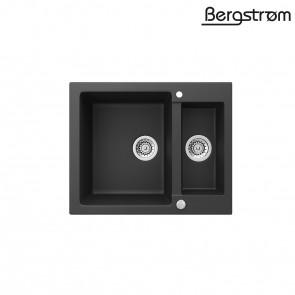 Bergström Granit Spüle Küchenspüle Einbauspüle Spülbecken 580x400mm Schwarz