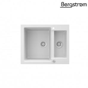 Bergström Granit Spüle Küchenspüle Einbauspüle Spülbecken 580x400mm Weiß