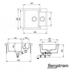 Bergström Granit Spüle Küchenspüle Einbauspüle Spülbecken 580x400mm Beige