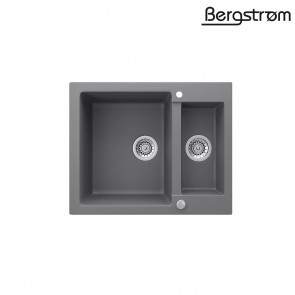 Bergström Granit Spüle Küchenspüle Einbauspüle Spülbecken 580x400mm Grau