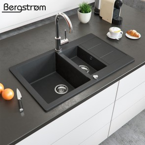 Bergström Granit Spüle Küchenspüle Einbauspüle Spülbecken 800x500mm Schwarz