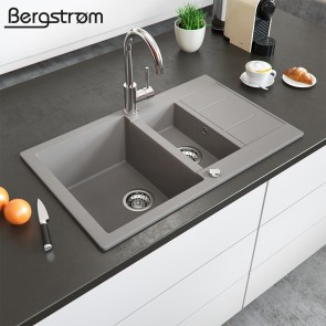 Bergström Granit Spüle Küchenspüle Einbauspüle Spülbecken 800x500mm Beton