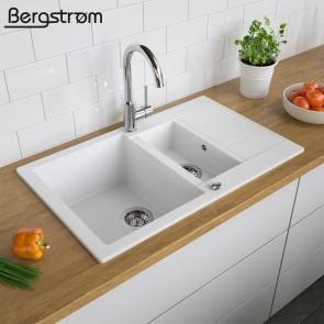 Bergström Granit Spüle Küchenspüle Einbauspüle Spülbecken 800x500mm Weiß