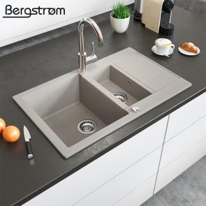 Bergström Granit Spüle Küchenspüle Einbauspüle Spülbecken 800x500mm Beige