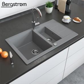 Bergström Granit Spüle Küchenspüle Einbauspüle Spülbecken 800x500mm Grau