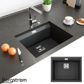 Bergström Granit Spüle Küchenspüle Einbauspüle Spülbecken 550x450mm Schwarz