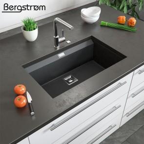 Bergström Granit Spüle Küchenspüle Einbauspüle Spülbecken 740x450mm Schwarz