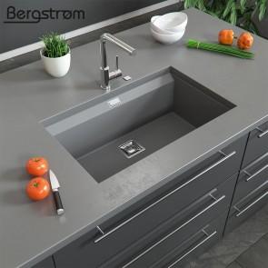 Bergström Granit Spüle Küchenspüle Einbauspüle Spülbecken 740x450mm Grau