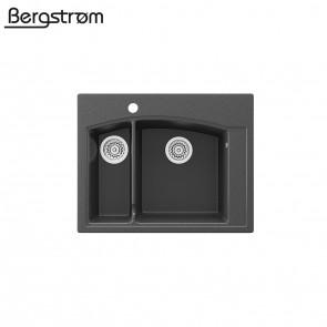 Bergström Granit Spüle Aufsatzspüle 620 x 490 mm Schwarz