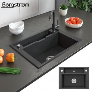 Bergström Granit Spüle Aufsatzspüle 660 x 480 mm Schwarz