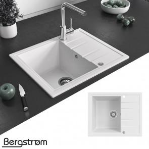 Bergstroem Granit Spüle Küchenspüle Einbauspüle Spülbecken 575x470 mm Weiß