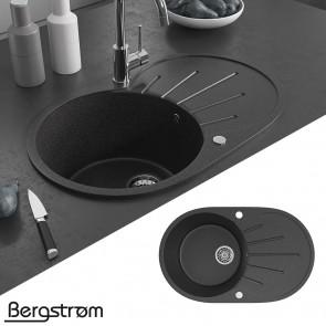 Bergstroem Granit Spüle Küchenspüle Einbauspüle Spülbecken 730x450 mm Schwarz