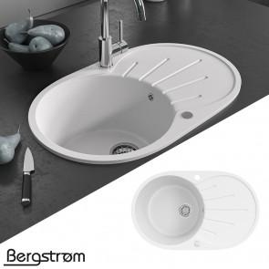 Bergstroem Granit Spüle Küchenspüle Einbauspüle Spülbecken 730x450 mm Weiß