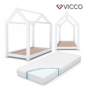 VICCO Hausbett Kinderhaus Kinderbett WIKI 90x200cm Holz Weiß inkl. 7-Zonen Kaltschaummatratze