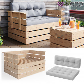Vicco Palettenkissen Lounge Gartensofa mit Kissen grau