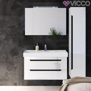 VICCO Badmöbel Set GRETA 100 cm Weiß Hochglanz - Bad Waschtisch Spiegelschrank Badhochschrank