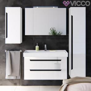 VICCO Badmöbel Set GRETA 100 cm Weiß Hochglanz-Waschtisch Spiegelschrank Midischrank Badhochschrank