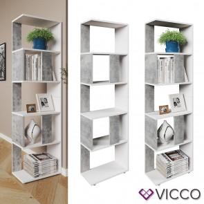 VICCO Raumteiler Raumtrenner Bücherregal Standregal Aktenregal Hochregal Aufbewahrung Regal Beton (klein)