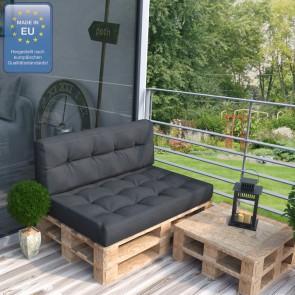 Palettenkissen Set Sitz+Rückenkissen+Rückenlehne anthrazit