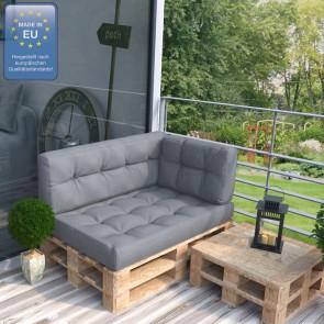 Palettenkissen Set Sitz+Rücken+Seitenkissen grau