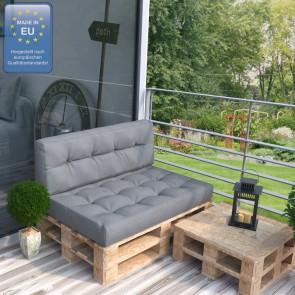 Palettenkissen Set Sitz+Rücken+Rückenlehne grau