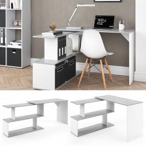 Schreibtisch Levia Beton/Weiß