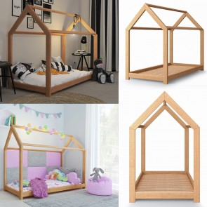 VICCO Hausbett Kinderhaus Kinderbett WIKI 90x200cm Holz Natur inkl. 7-Zonen Kaltschaummatratze