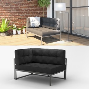 Alu Lounge Gartenmöbel inkl. Palettenkissen Gartenlounge Sitzgarnitur Sitzgruppe Anthrazit