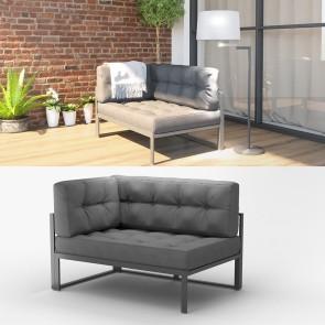 Alu Lounge Gartenmöbel inkl. Palettenkissen Gartenlounge Sitzgarnitur Sitzgruppe Grau