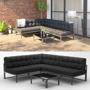 Alu Lounge Gartenmöbel Set inkl. Palettenkissen + Tisch Gartenlounge Sitzgarnitur Sitzgruppe Anthrazit