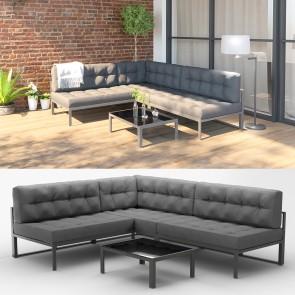 Alu Lounge Gartenmöbel Set inkl. Palettenkissen + Tisch Gartenlounge Sitzgarnitur Sitzgruppe Grau
