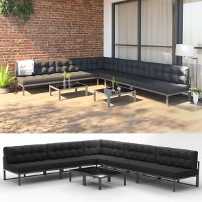 XXL Alu Lounge Gartenmöbel Set inkl. Palettenkissen + Tisch Gartenlounge Sitzgarnitur Sitzgruppe Anthrazit