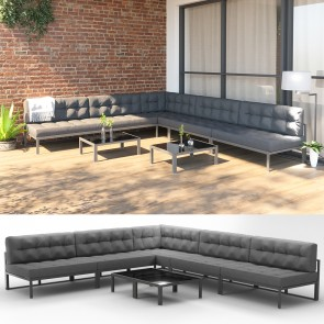 XXL Alu Lounge Gartenmöbel Set inkl. Palettenkissen + Tisch Gartenlounge Sitzgarnitur Sitzgruppe Grau