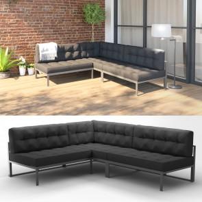 Alu Lounge Gartenmöbel Set inkl. Palettenkissen Gartenlounge Sitzgarnitur Sitzgruppe Anthrazit