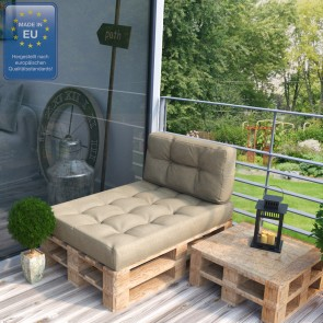 Palettenkissen Set Sitz+Seitenkissen Beige