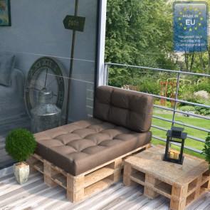 Palettenkissen Set Sitz+Seitenkissen+Seitenlehne Taupe