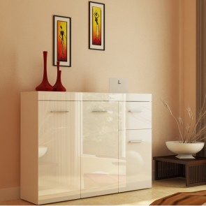 Sideboard 105 x 78cm Weiß / Weiß Hochglanz