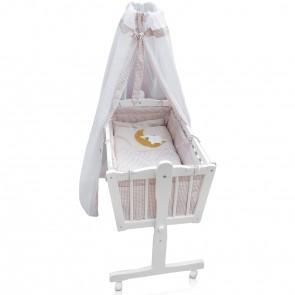Schaukelwiege Babybett Weiß Beige