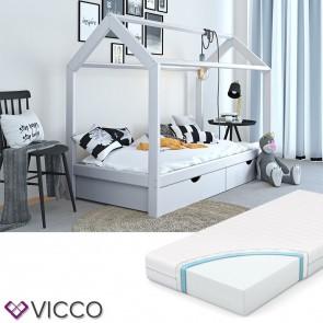 VICCO Hausbett Kinderhaus Kinderbett WIKI 90x200cm mit Schubladen Holz Weiß inkl. 7-Zonen Matratze
