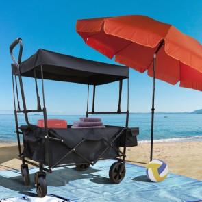 Bollerwagen anthrazit faltbarer Strandwagen Handwagen
